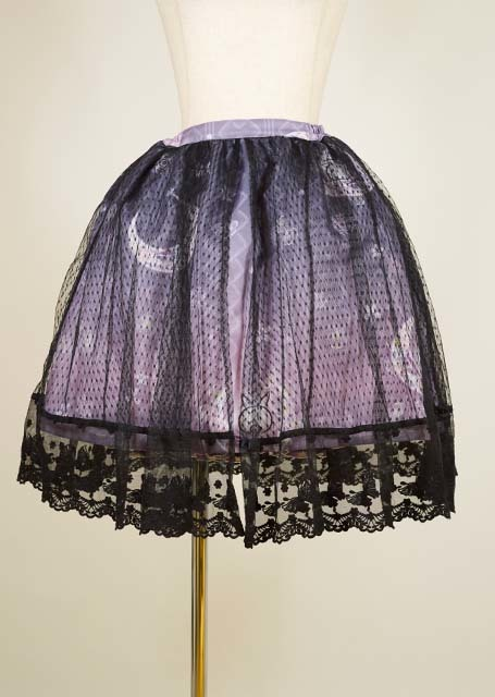 gouk雅 黎明の手向け柄スカート 黒×紫和柄 GGD26-S909 BK/M
