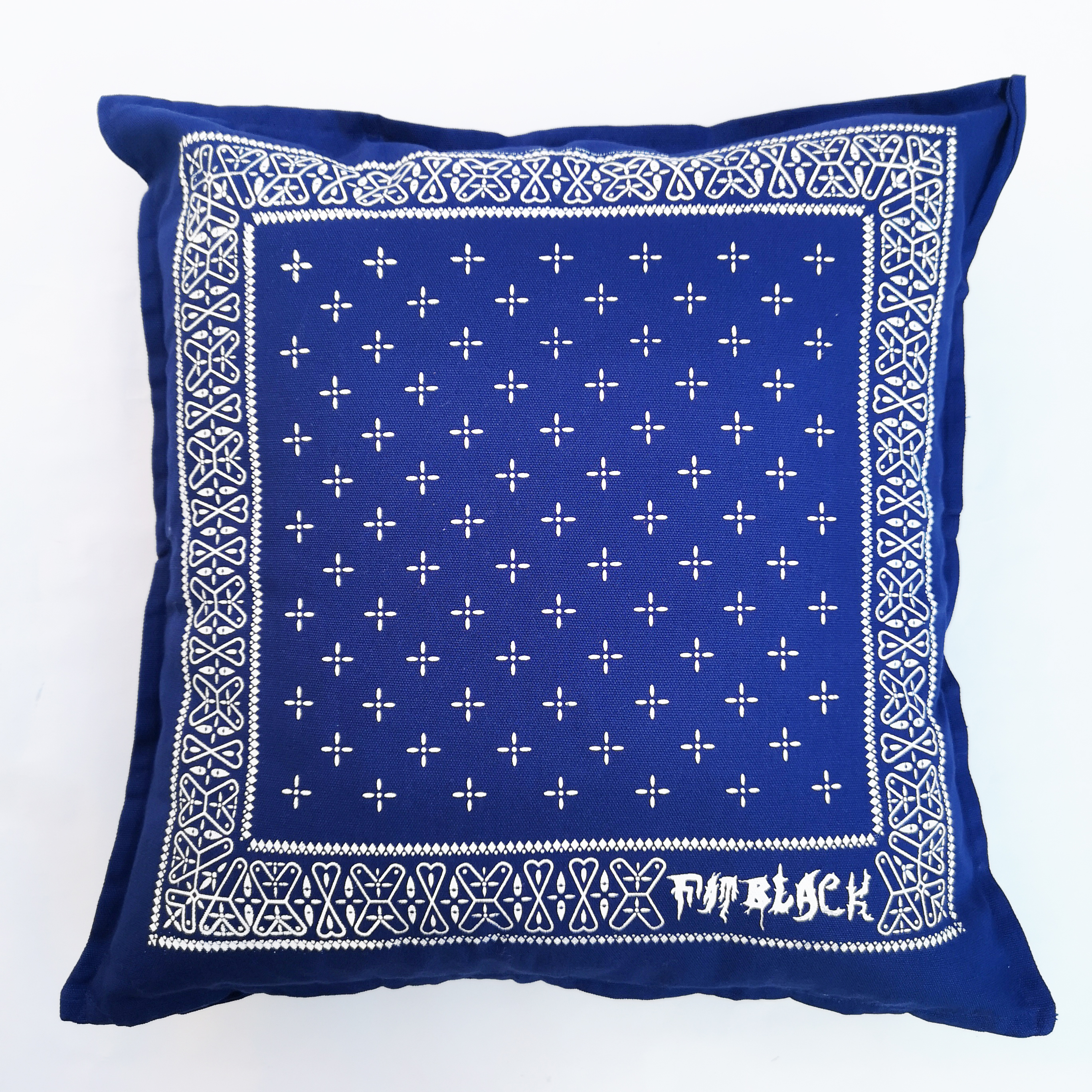 FATBLACK CROSS BANDANA CUSHION NAVY