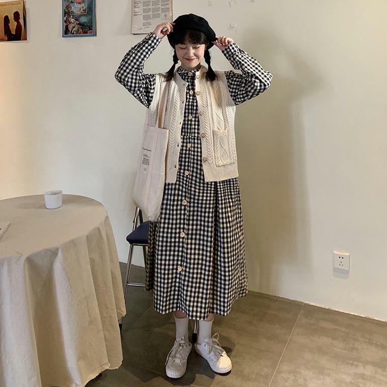 【送料無料】 旬のワンピースコーデ♡ ギンガムチェック ロング シャツ ワンピース × ケーブル編み ニット ベスト