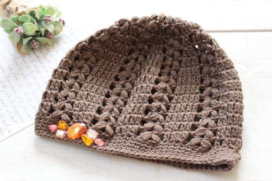 手編みニット帽*ブラウンラメ アクリルビジュー/sakura 型番:NB-5