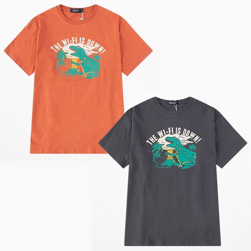 ユニセックス 半袖 Tシャツ メンズ レディース THE WI-FI IS DOWN! 英字 ダイナソー プリント オーバーサイズ 大きいサイズ ルーズ ストリート