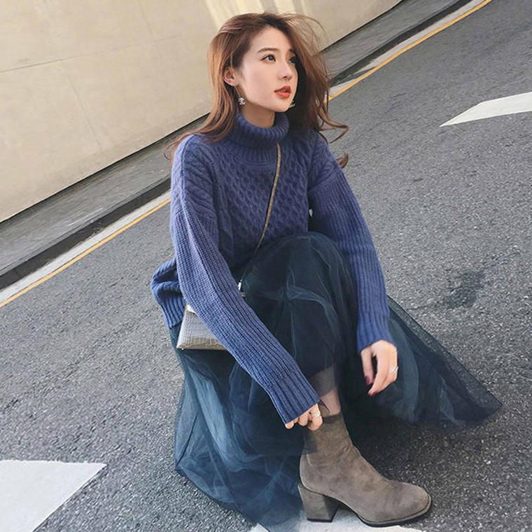 【送料無料】 ワントーンコーデ♡ 大人可愛い タートルネック ケーブル編み ニット × チュール ロング スカート セットアップ