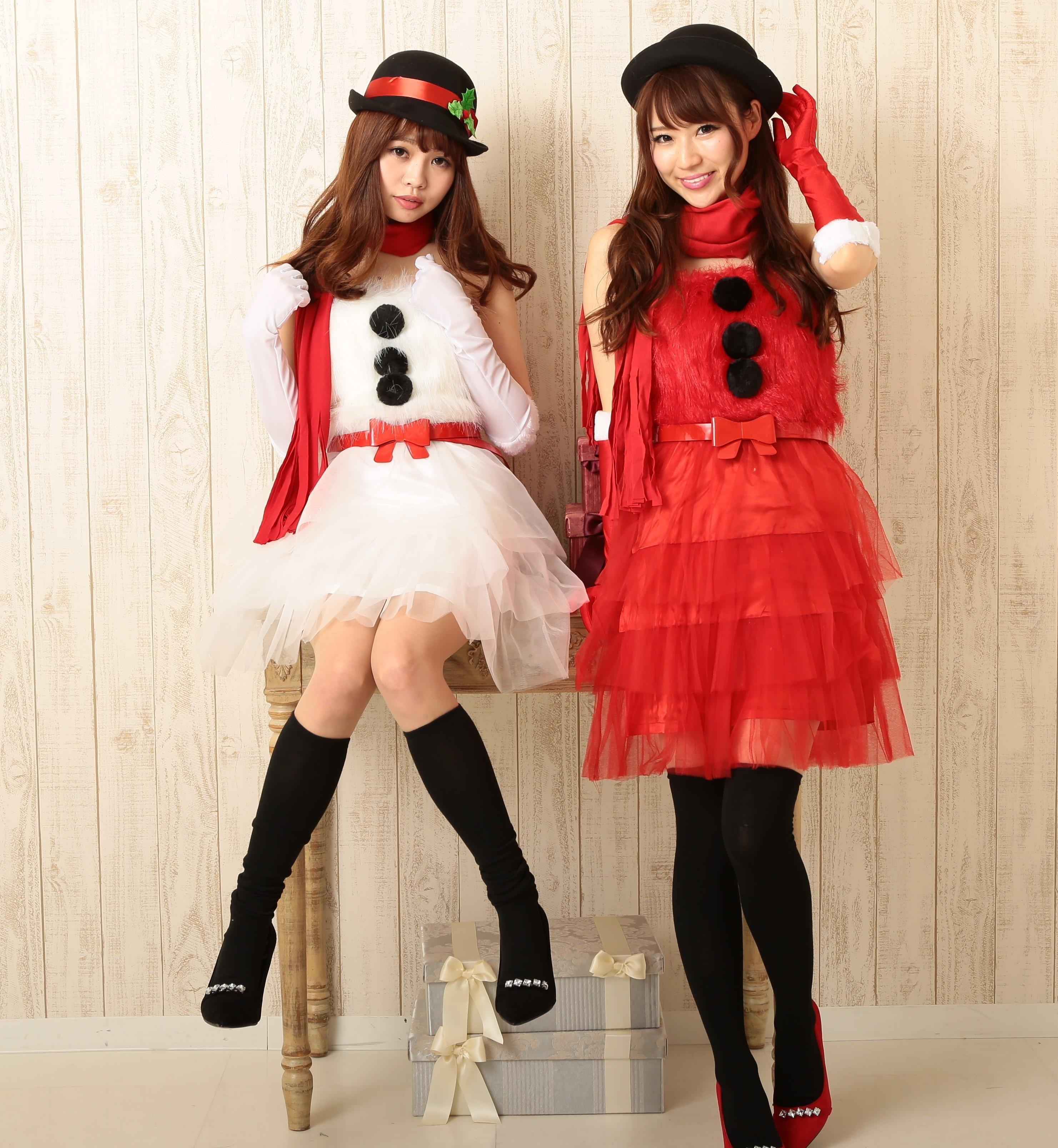雪だるまサンタコスプレ☆ファーワンピースがカワイイ☆赤・白