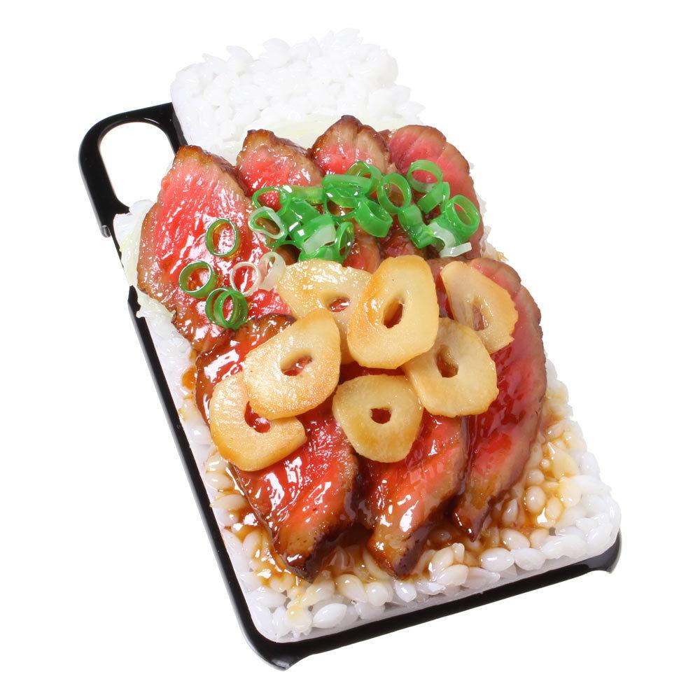 [8000]食品サンプル屋さんのスマホケース(iPhone XS、XS Max、XR:ステーキ丼)【メール便不可】