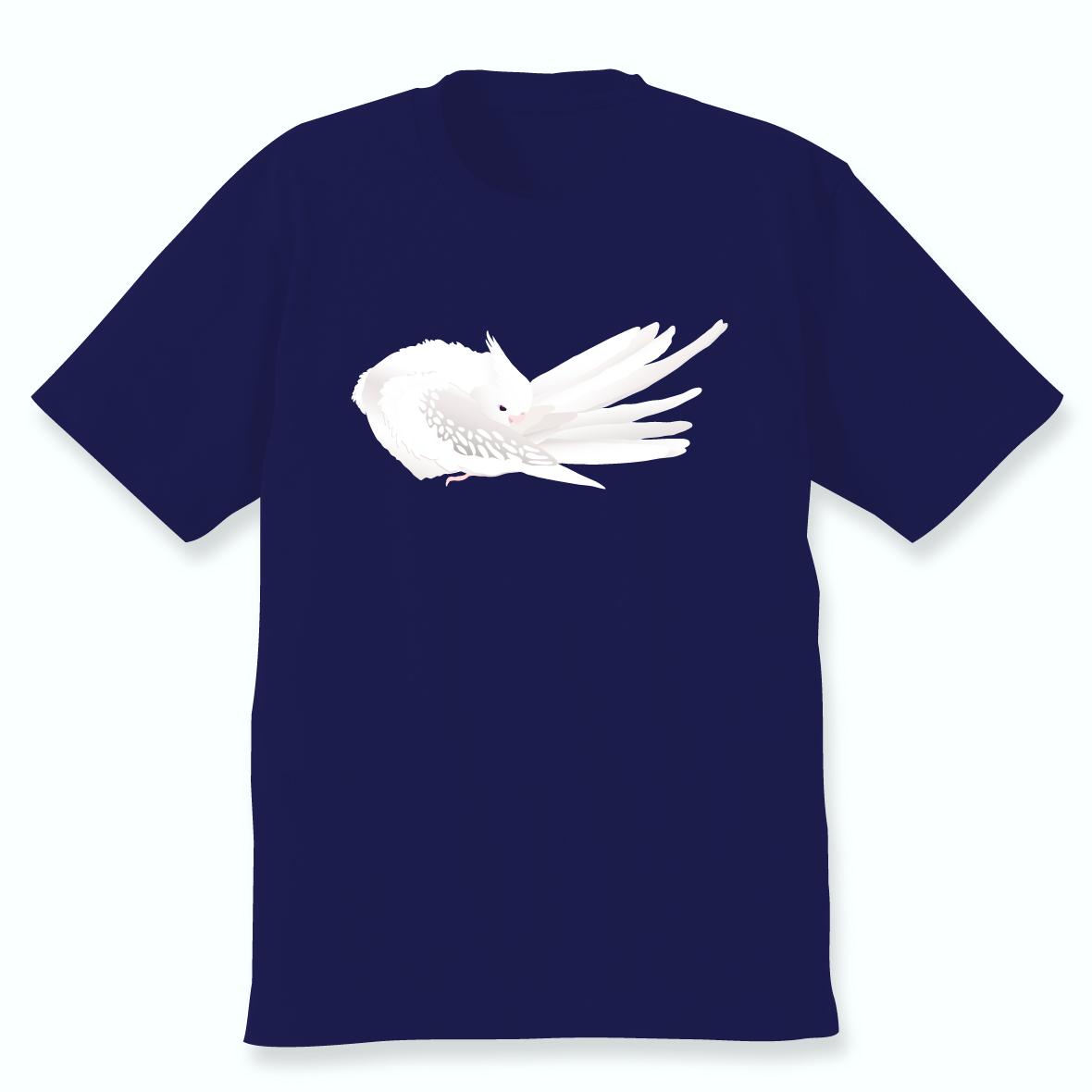 羽づくろうオカメインコTシャツ(ホワイトフェイスシナモンパールパイド)ネイビー