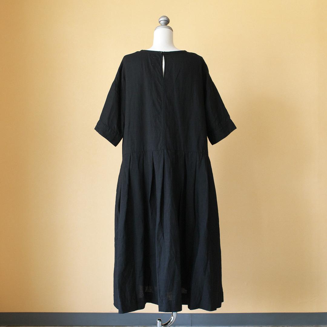 Gauze# ガーゼ G498 back tucked one piece バックタックワンピース・ブラック