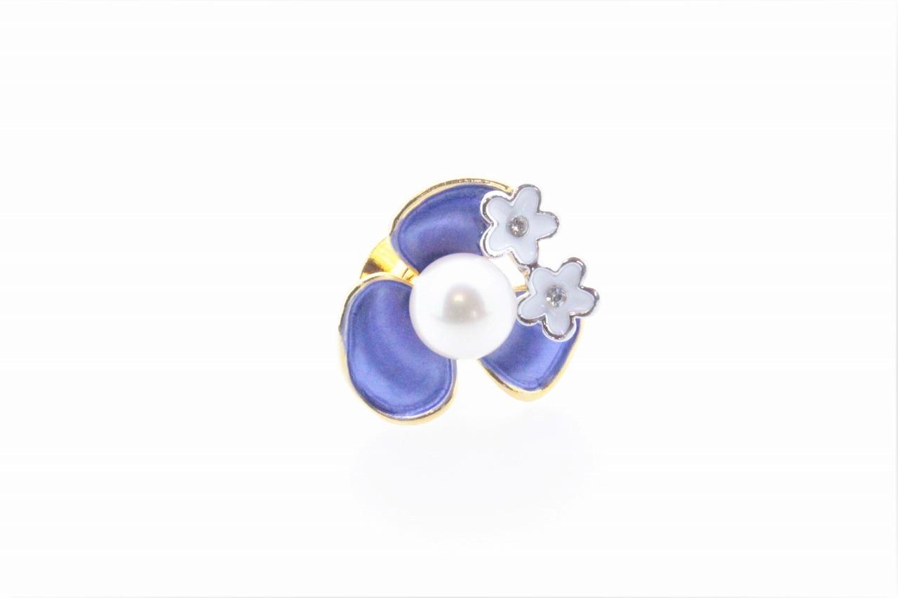アコヤ真珠 ピンブローチ〈カラーフラワー〉パープル