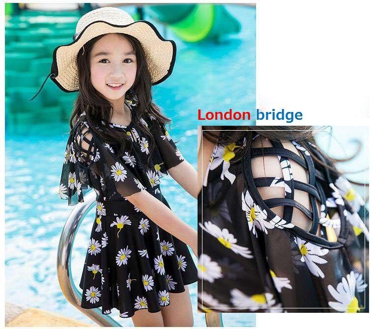 2afe6536d23e3 韓国子供服 夏着 女の子 水着 2点セット半袖 花柄 ワンピース&ショート ...