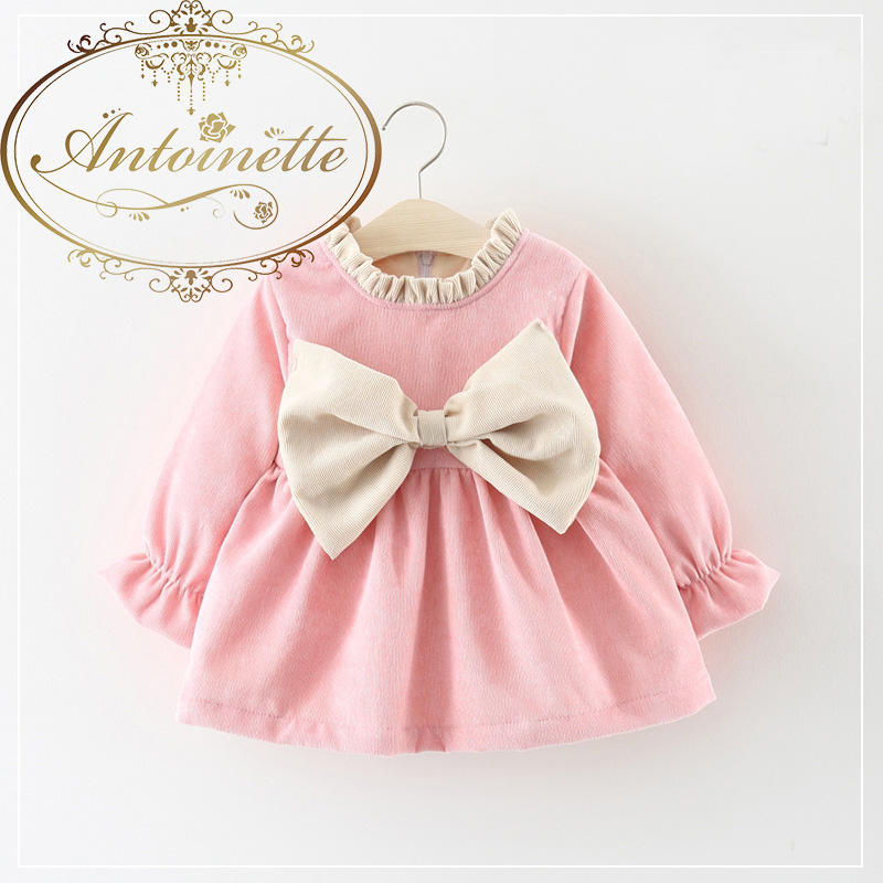 Spring Autumn Long Sleeved Baby Infants Girls Kids Dresses Bow Ruffles Princess Tutu Pleated Dress