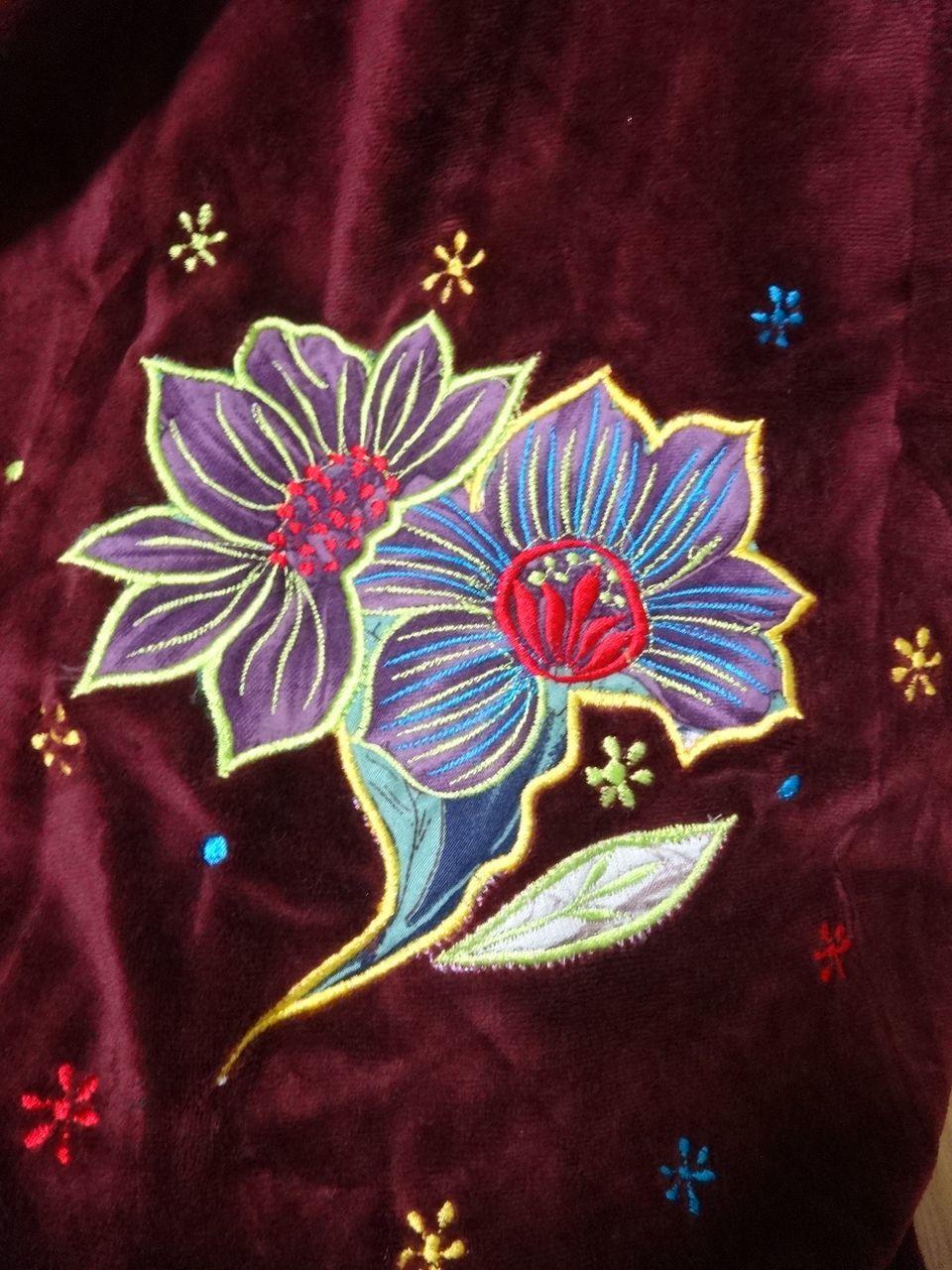 【えんじ色ラスト1点!】EMS-021MA ベルベット刺繍×シルク巻きスカート エンジ