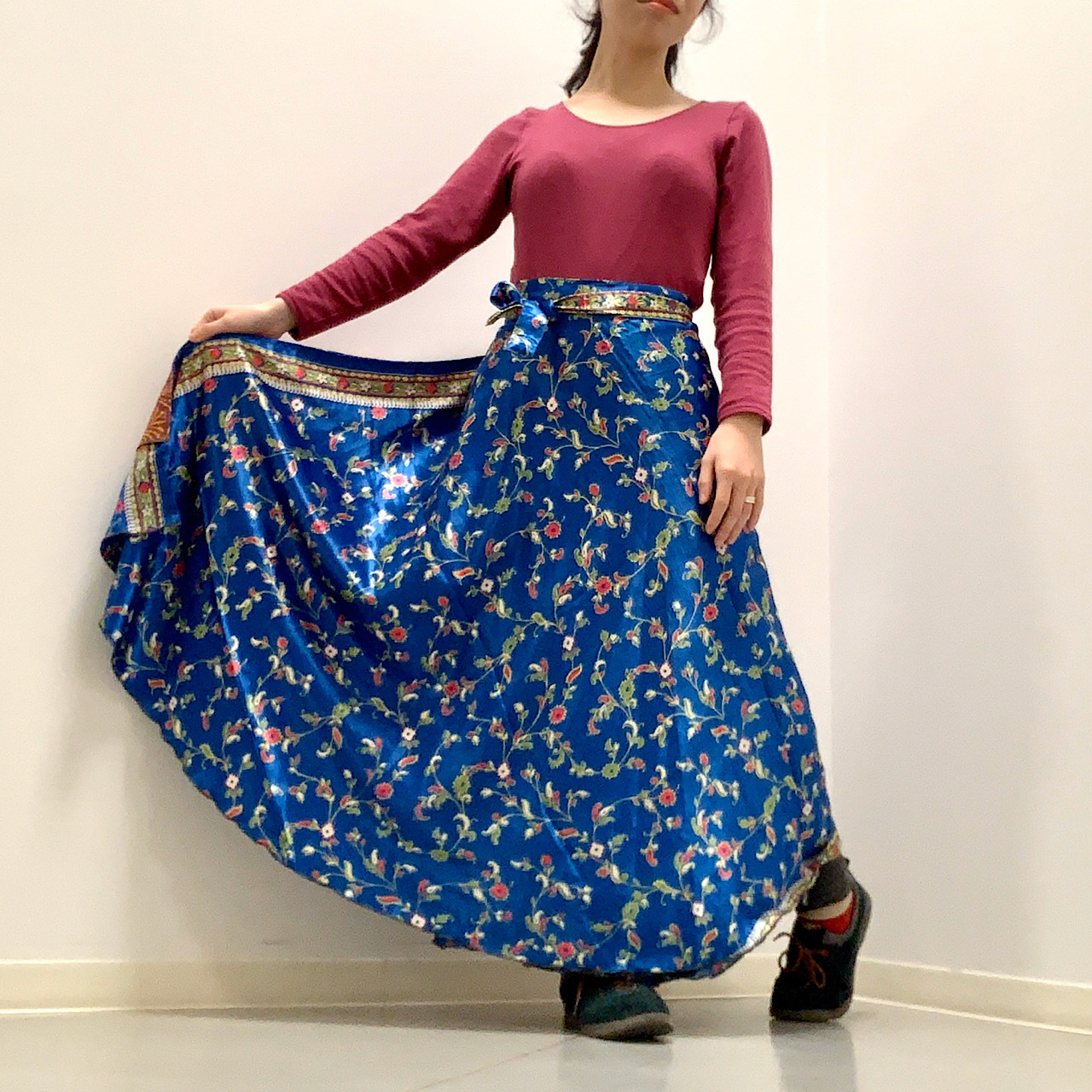 vdsl-001 ビンテージシルクサリー 巻きスカート【ブルーパルメット】