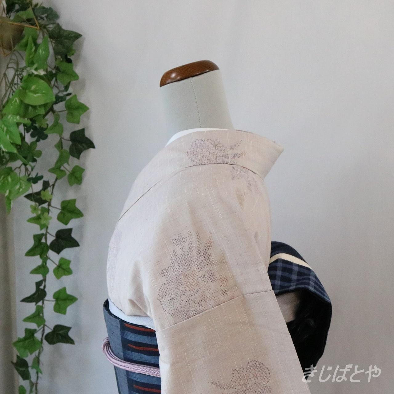 結城紬 霞色の飛び柄小紋 単衣