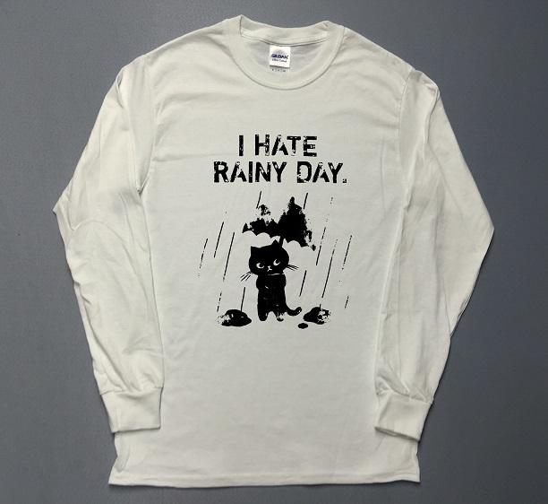 雨の日が嫌な猫 イラスト ロゴ 長袖 プリント ロングtシャツ Utn203 Area