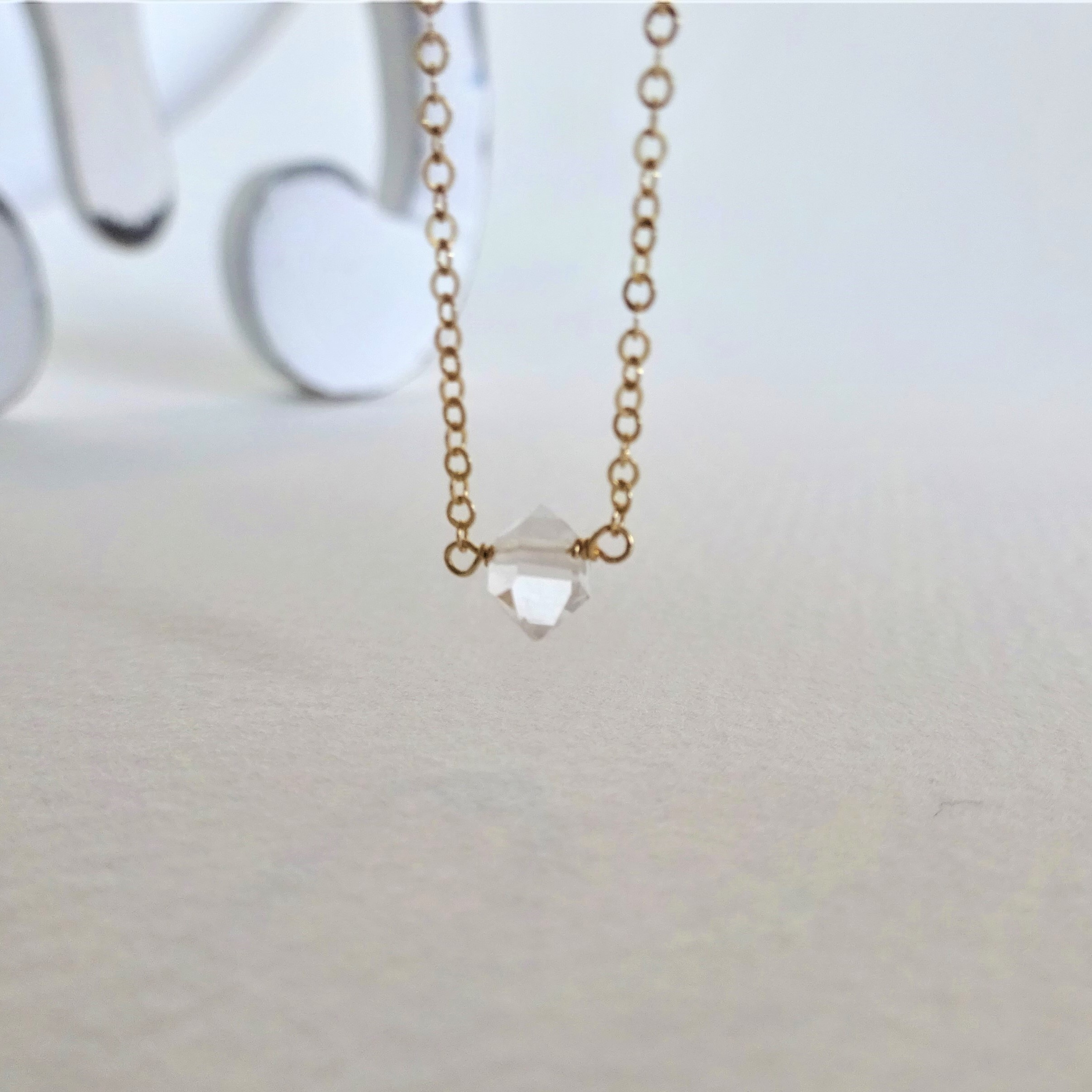 送料無料 14kgf*AAA Herkimerdiamond one stone necklace