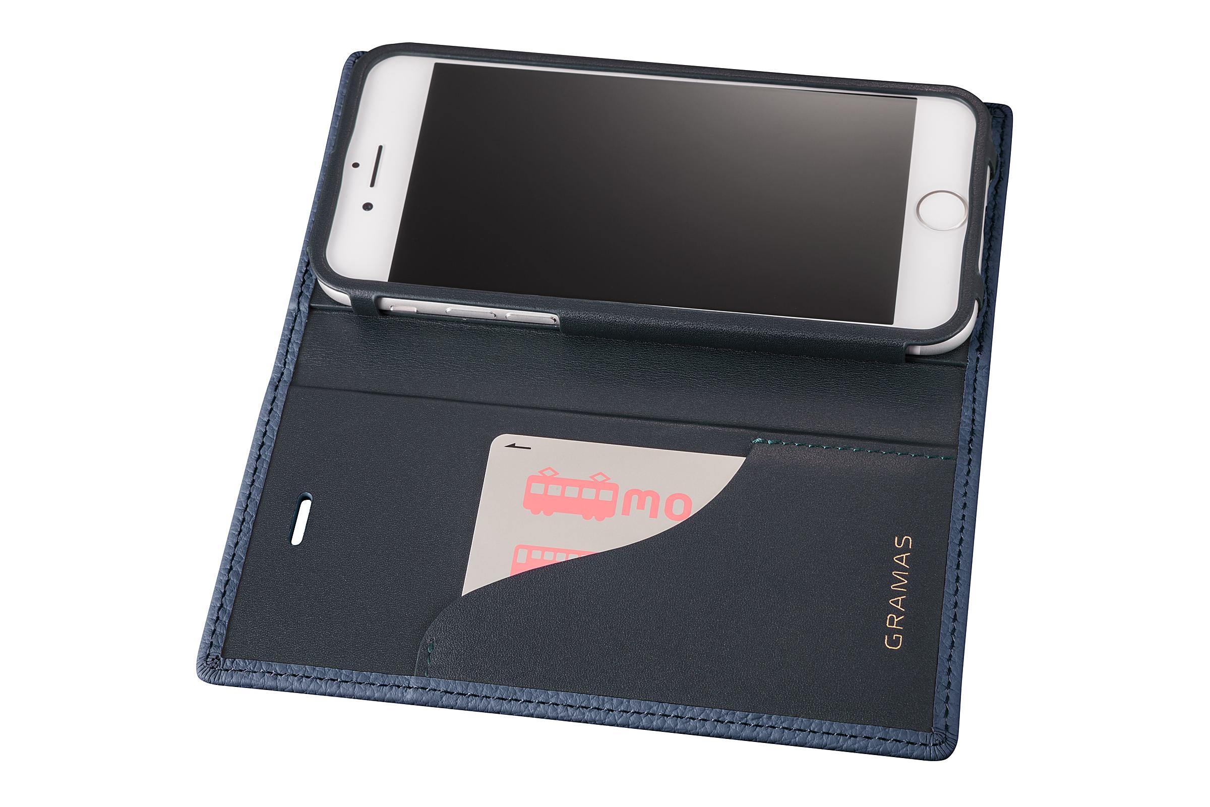 GRAMAS Shrunken-calf Full Leather Case for iPhone 7(Navy) シュランケンカーフ 手帳型フルレザーケース GLC646NV - 画像4