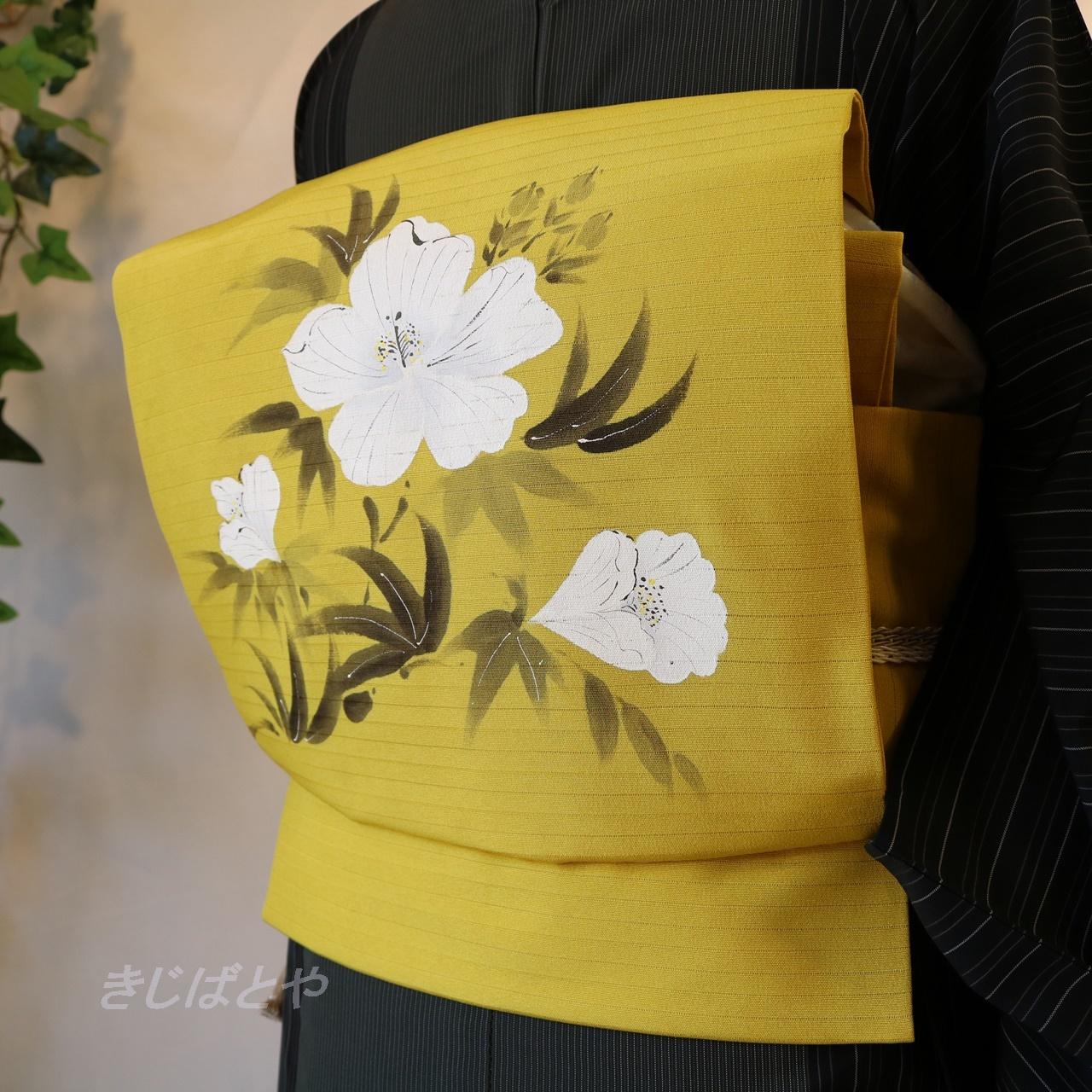 正絹絽 辛子色に白花のなごや