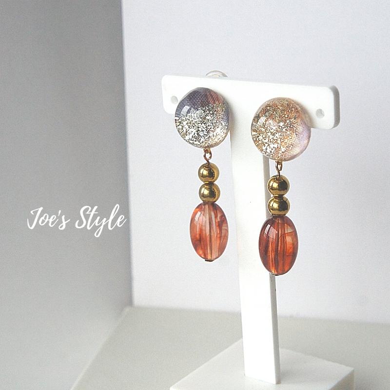 """"""" Earrings NO.0-1801″ ラメとヘマタイト"""
