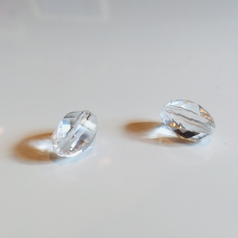 浄化の石|水晶 8×14カットmm玉|2個セット