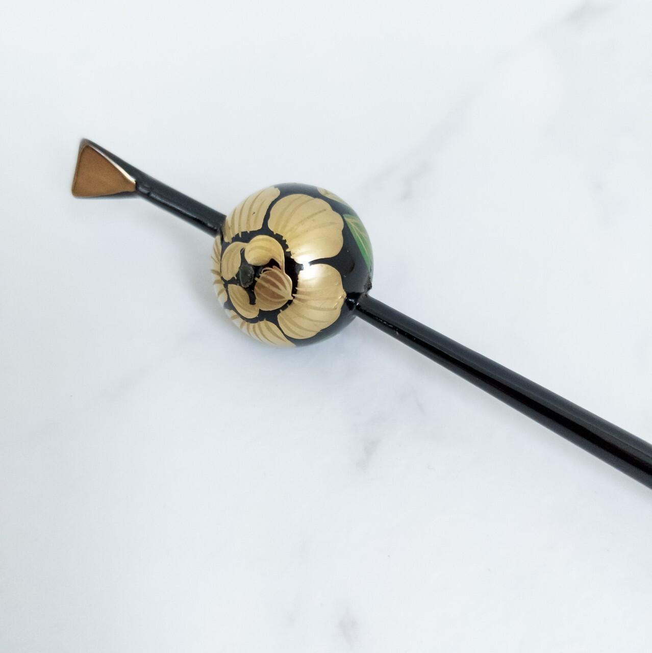 【デッドストック】玉かんざし 黒×金色 牡丹 レトロデザイン