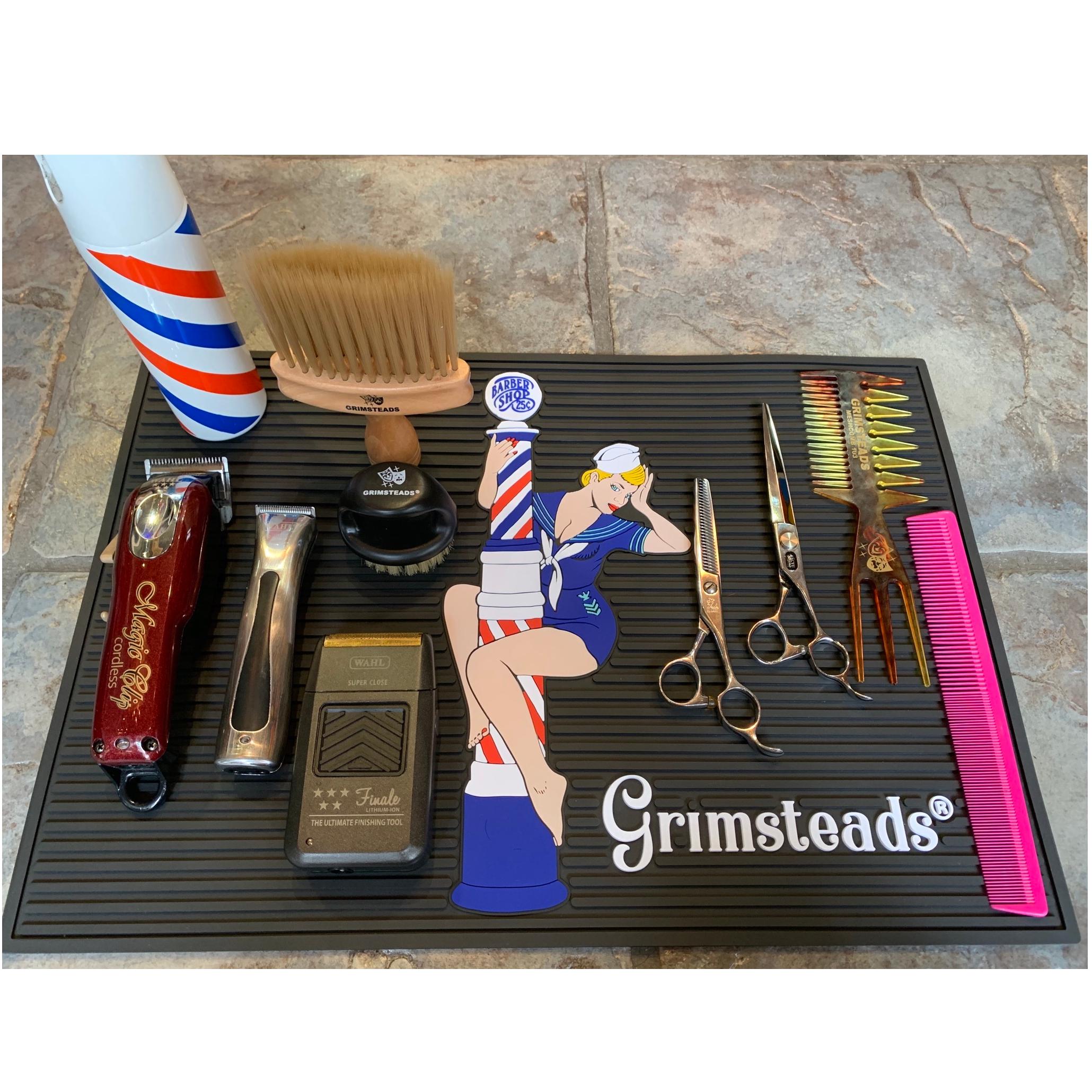 Grimsteads バーバーポール&ピンナップガールツールマット Lサイズ