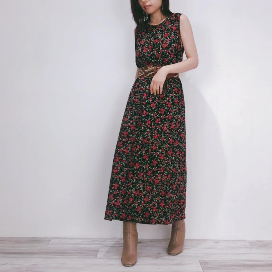 ◼︎90s flower pattern sleeveless long dress from U.S.A.◼︎
