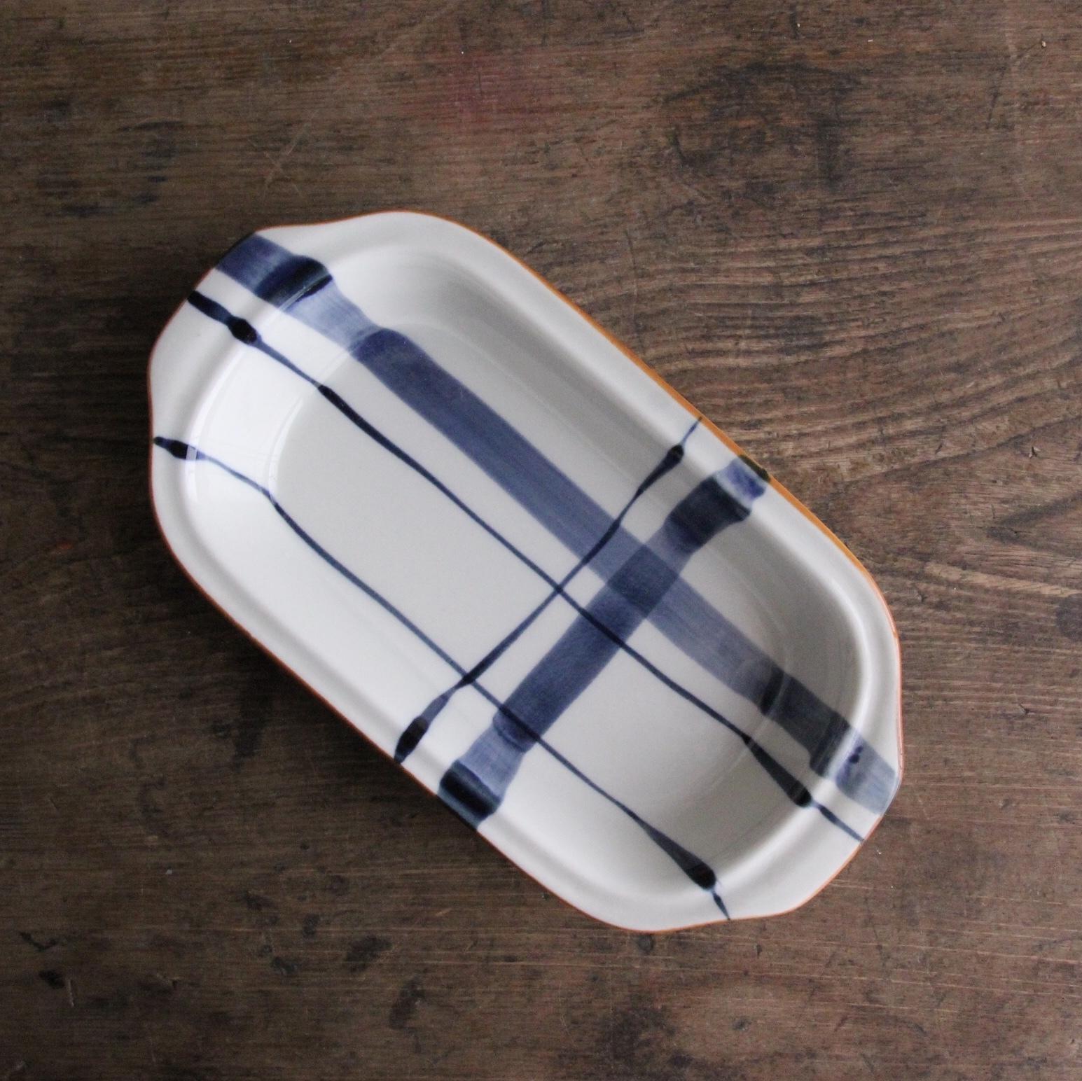 青の刷毛引きグラタン皿 在庫2枚