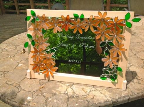 オレンジフラワー(ステングラスのミラー) 02060402