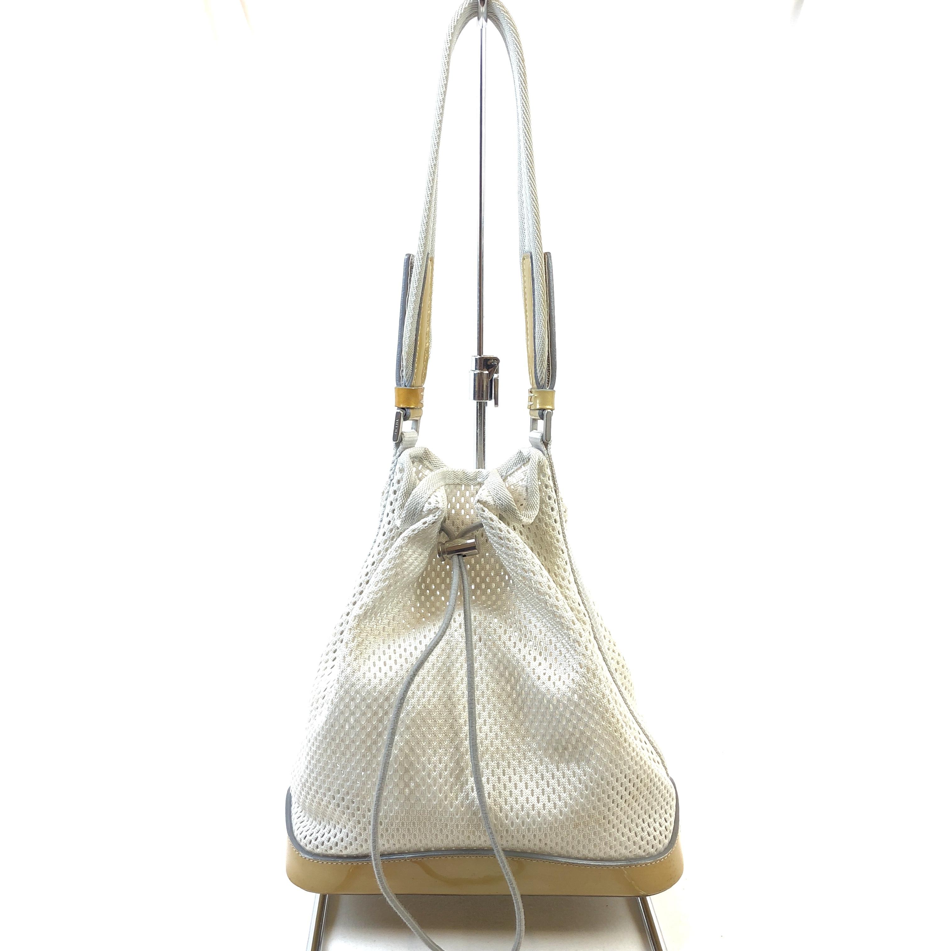 e1a1468e1ba1 PRADA プラダ メッシュ 巾着バッグ PVC クリアバッグ オフホワイト ゴールド vintage ヴィンテージ