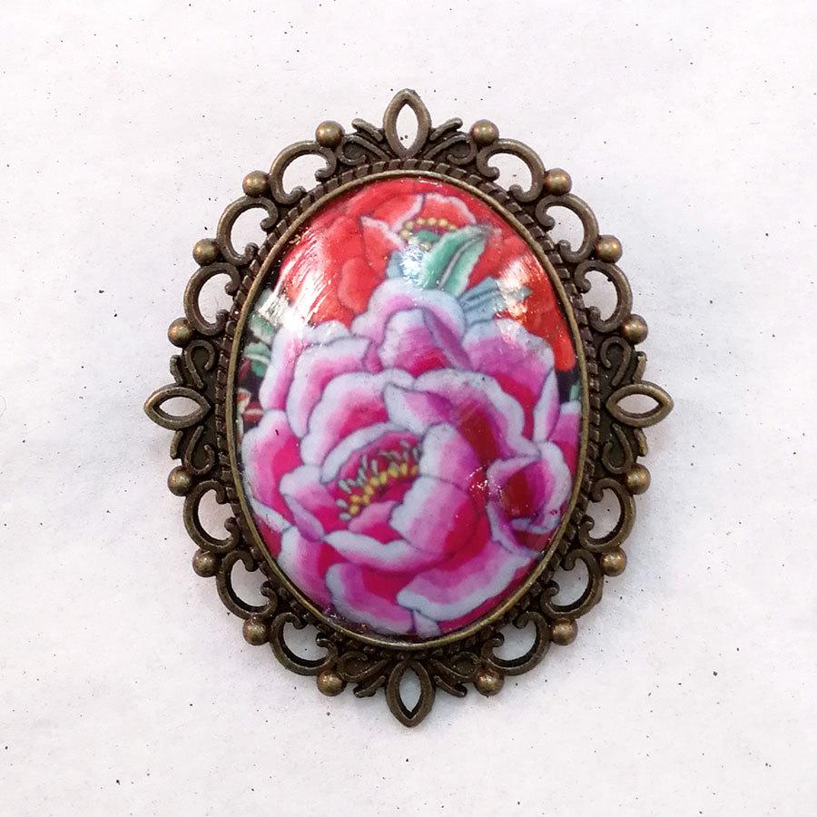 FE-Brc_PurezaVioleta ブローチ マントン刺繍柄・バイオレット系  スペイン製