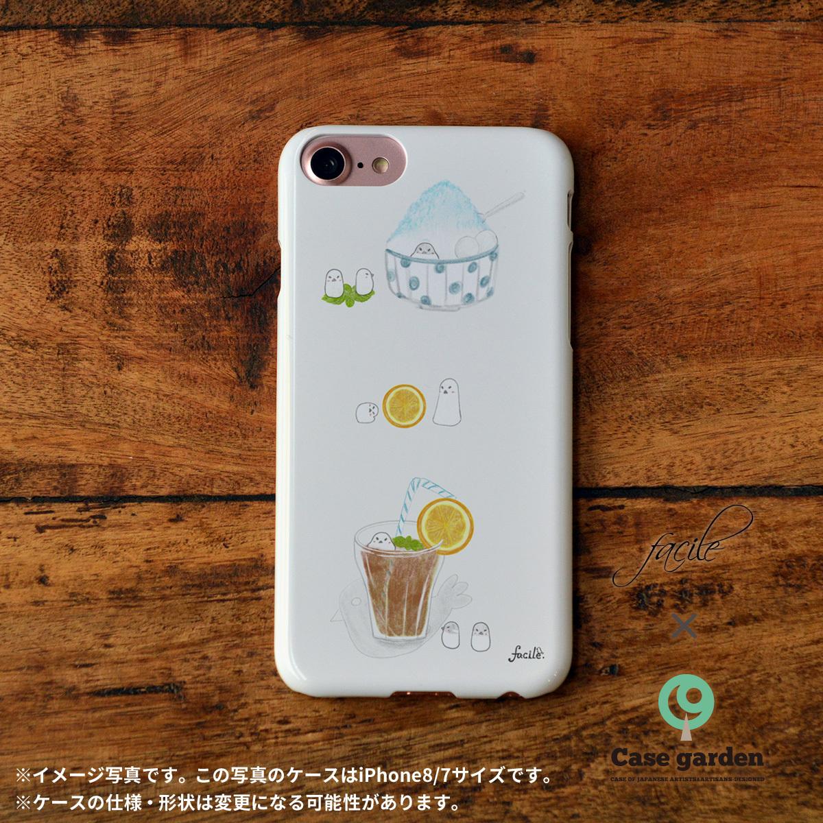 iphone8 ハードケース おしゃれ iphone8 ハードケース シンプル iphone7 ケース かわいい ハード 文鳥 トリ カフェ 夏 マメどりの夏涼み facile×Casegarden