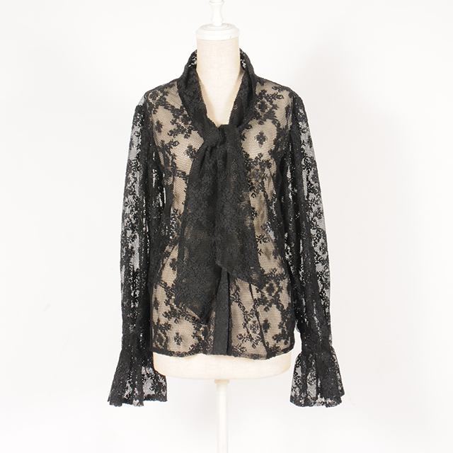 hs19AW-IR06 BOW TIE BLOUSE -LACE (black)