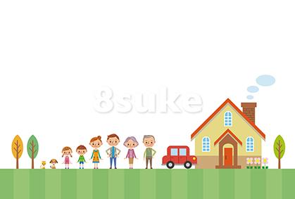 イラスト素材:マイホームと家族(ベクター・JPG)