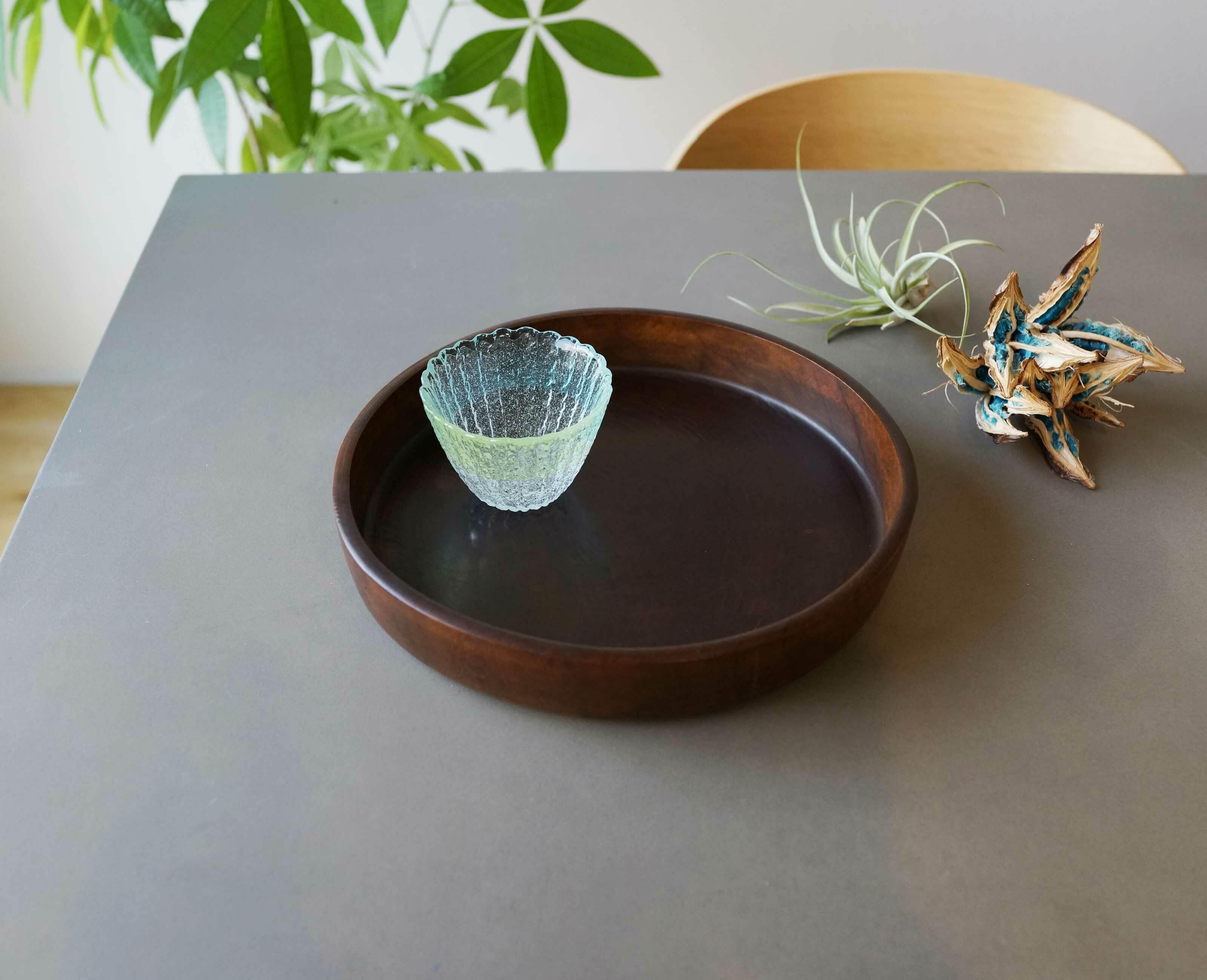 昭和レトロ 木製丸型お盆