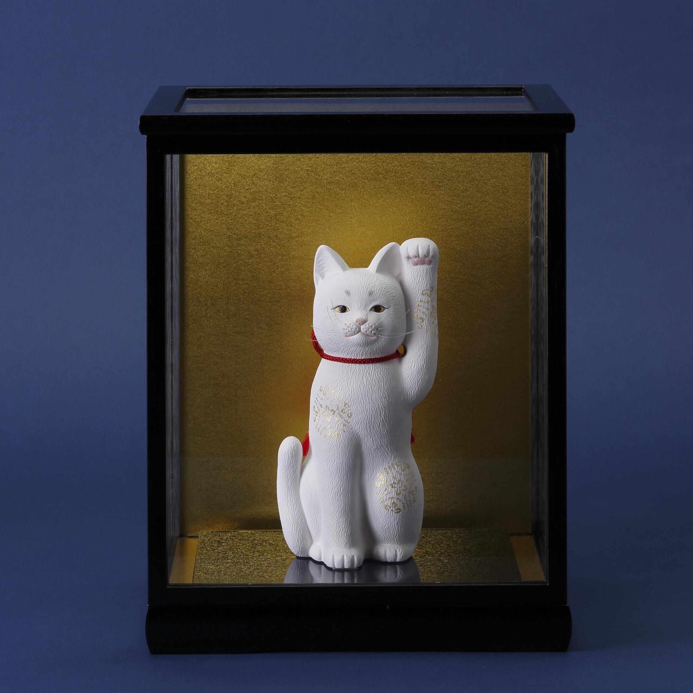 京雅 招き猫 硝子ケース付き