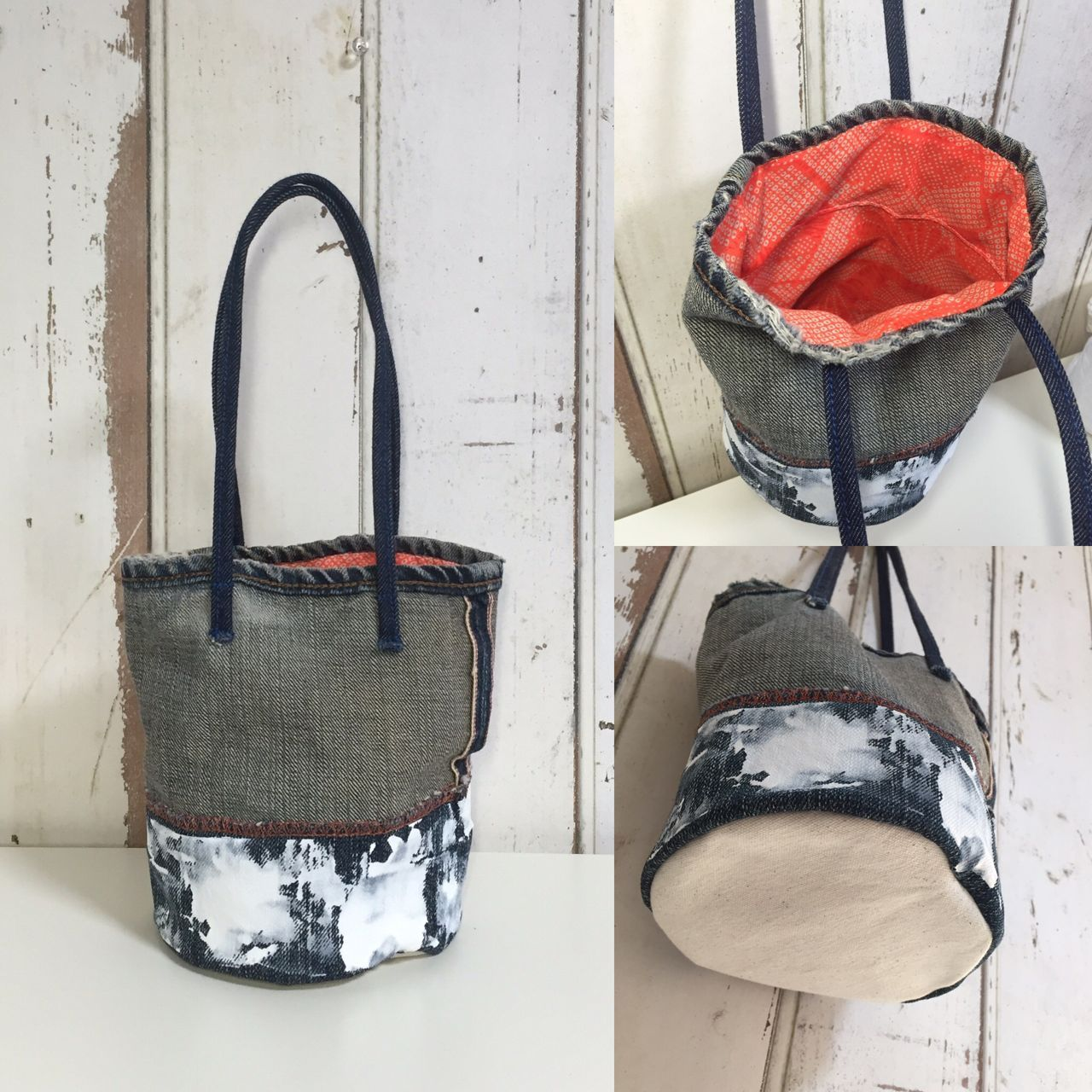used denim mini bag  / antique kimono(橙絞り)
