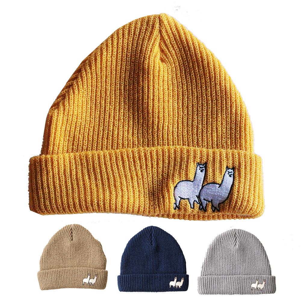 アルパカ刺繍ニット帽