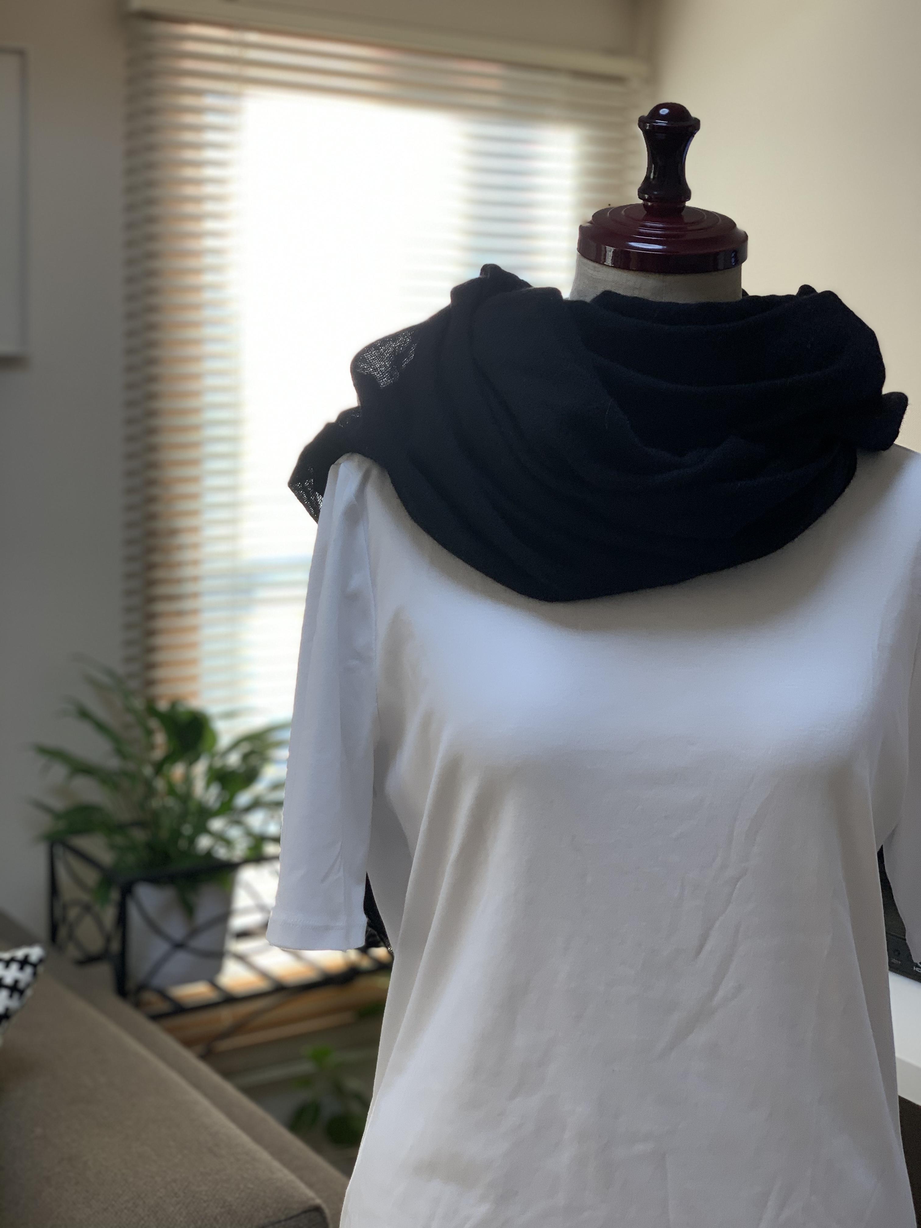 CALEIDO100%カシミアガーゼスカーフ(Black)043