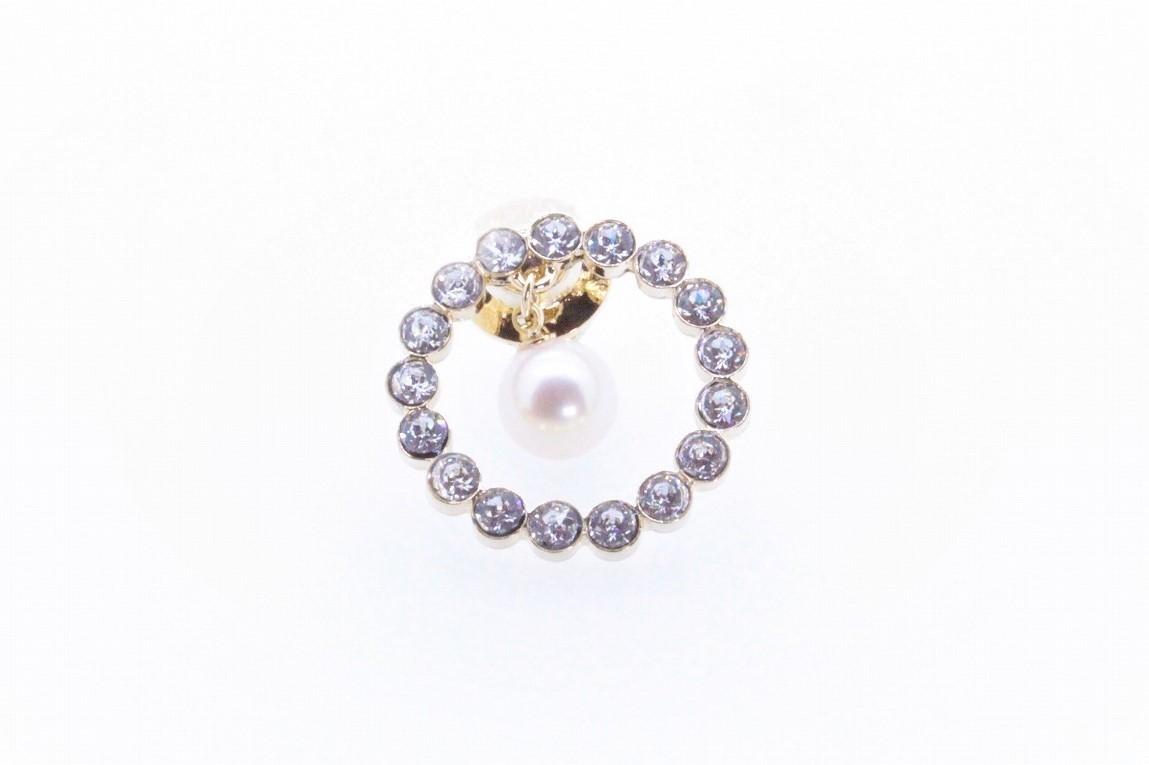アコヤ真珠 ピンブローチ〈サークル〉ゴールドカラー