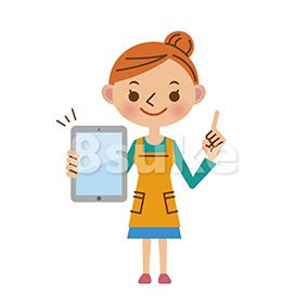イラスト素材:タブレット端末を持つ主婦(ベクター・JPG)