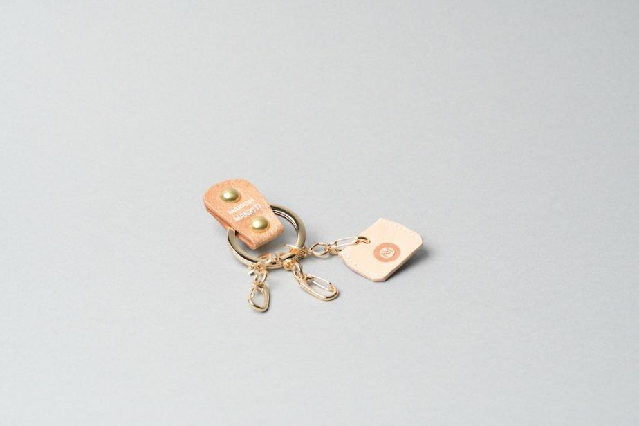 KEY RING・CAP ■ライトブラウンG・ナチュラル■_本革真鍮キーリング・キーキャップセット_ - 画像1