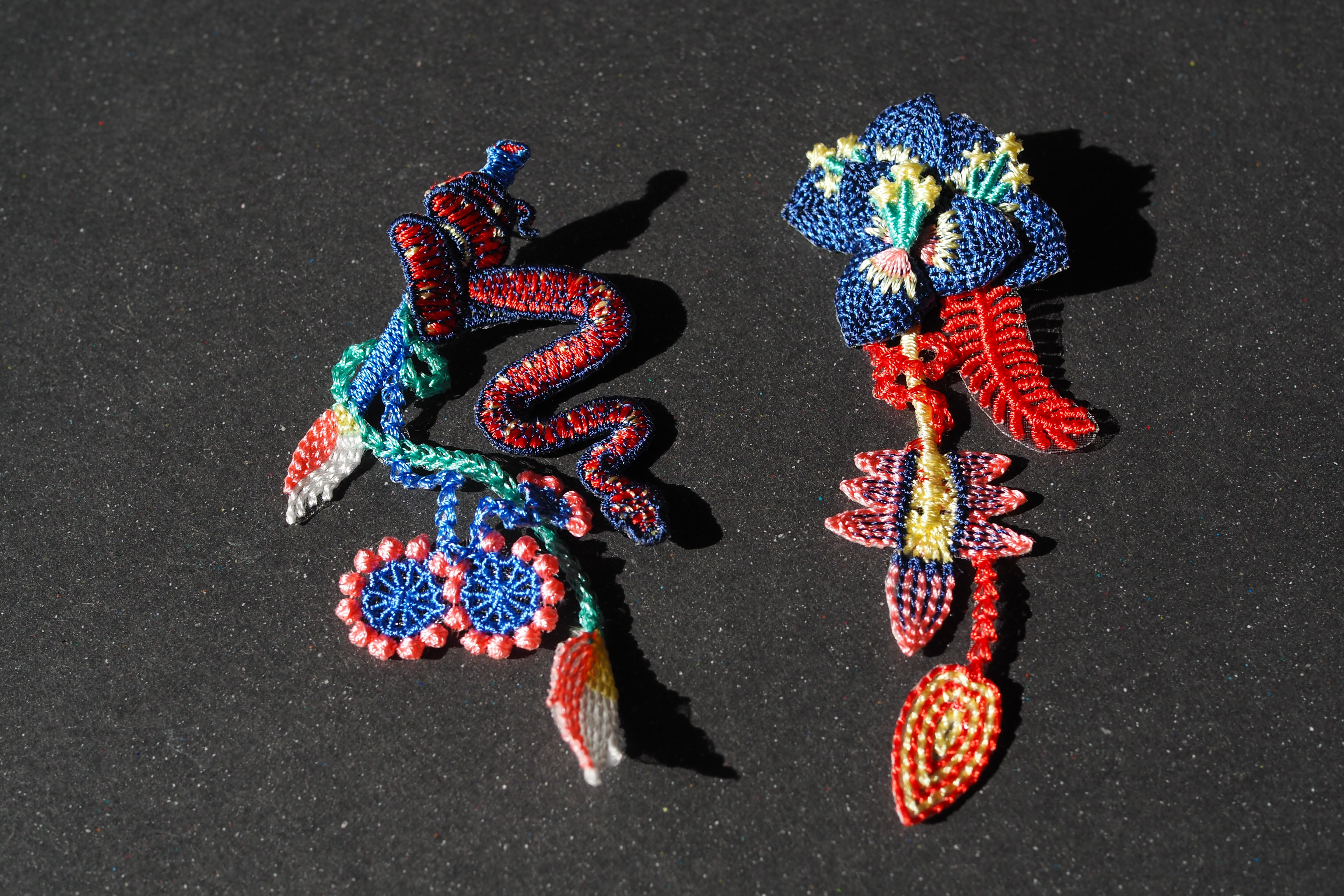 ARRO / Embroidery earring / GARDEN / blue
