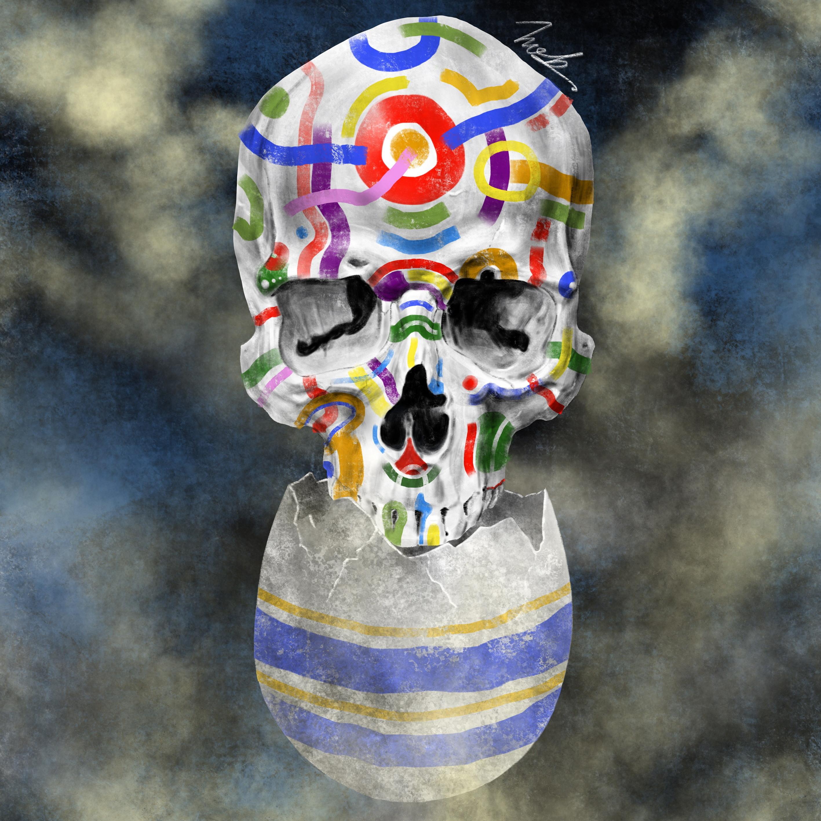 絵画 絵 ピクチャー 縁起画 モダン シェアハウス アートパネル アート art 14cm×14cm 一人暮らし 送料無料 インテリア 雑貨 壁掛け 置物 おしゃれ ロココロ 現代アート ドクロ 髑髏 どくろ 骸骨 画家 : nob 作品 : L&D
