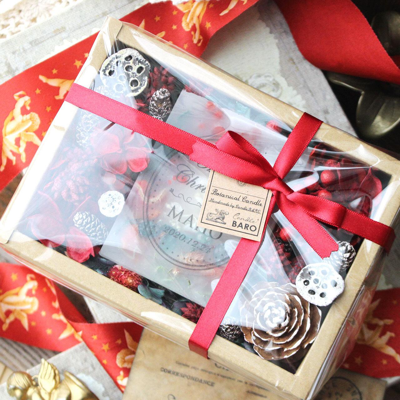 【受注生産】2020クリスマス☆メッセージ&日付&名入れ 透明ラッピング&紙袋付き☆ボタニカルキャンドルギフト