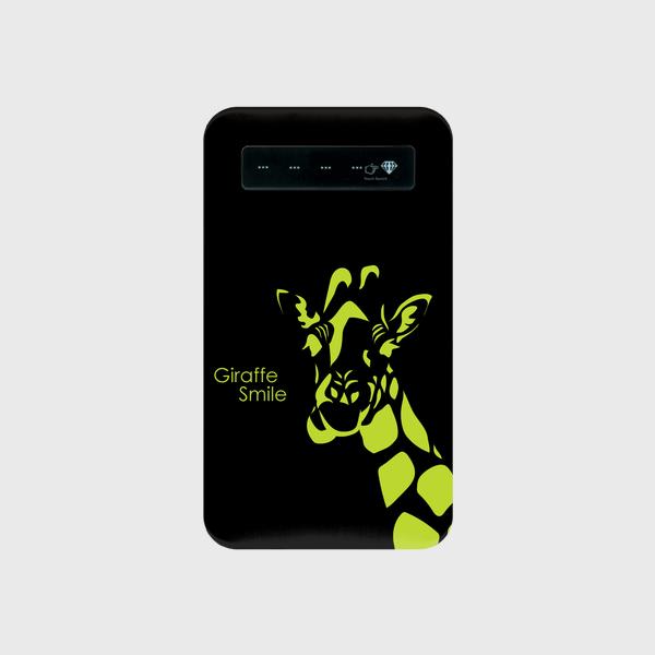 モバイルバッテリー  ☆giraffe-yellow☆microUSBケーブル(蓄電用コード付き )
