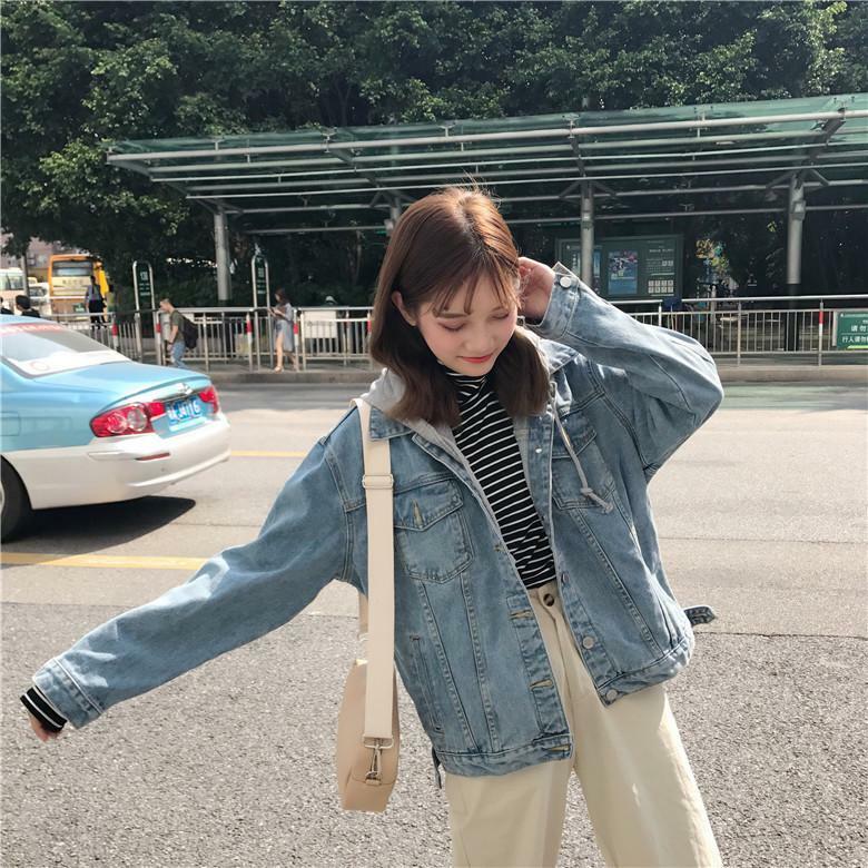 【送料無料】おしゃれなGジャン ♡ フード付き カジュアル デニム ジャケット アウター