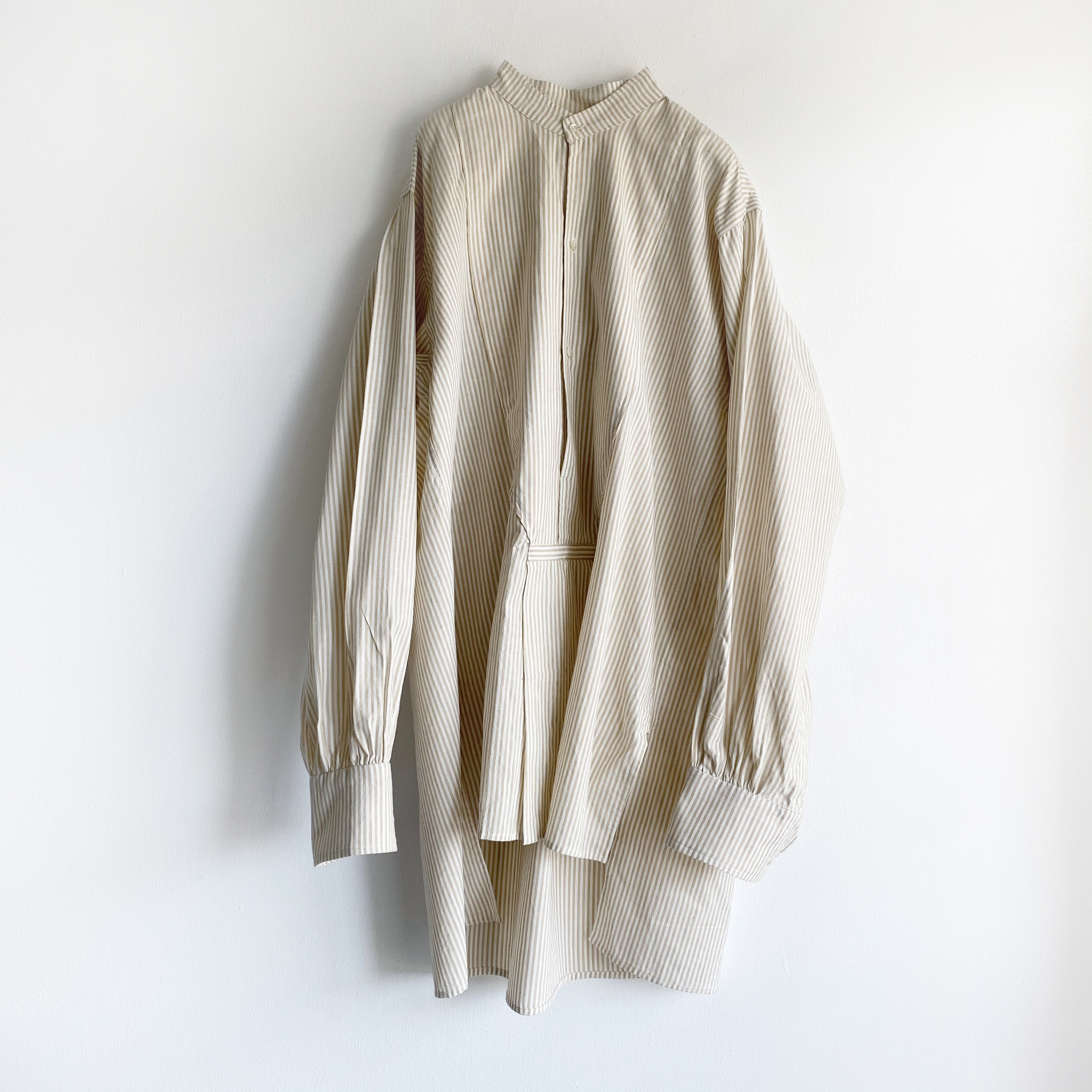 "Pullover gather blouse ""beige stripe"""