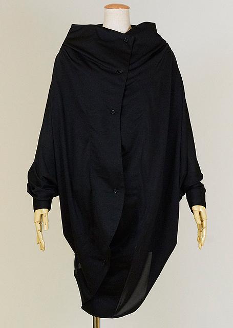 KUNIKUNI 前身頃が段々になる感じの大きめなシャツ羽織 KUD28-H012 BK/MM