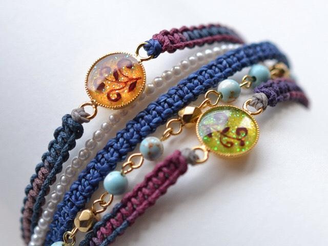つる草の編み紐ブレス<青紫/ターコイズ>