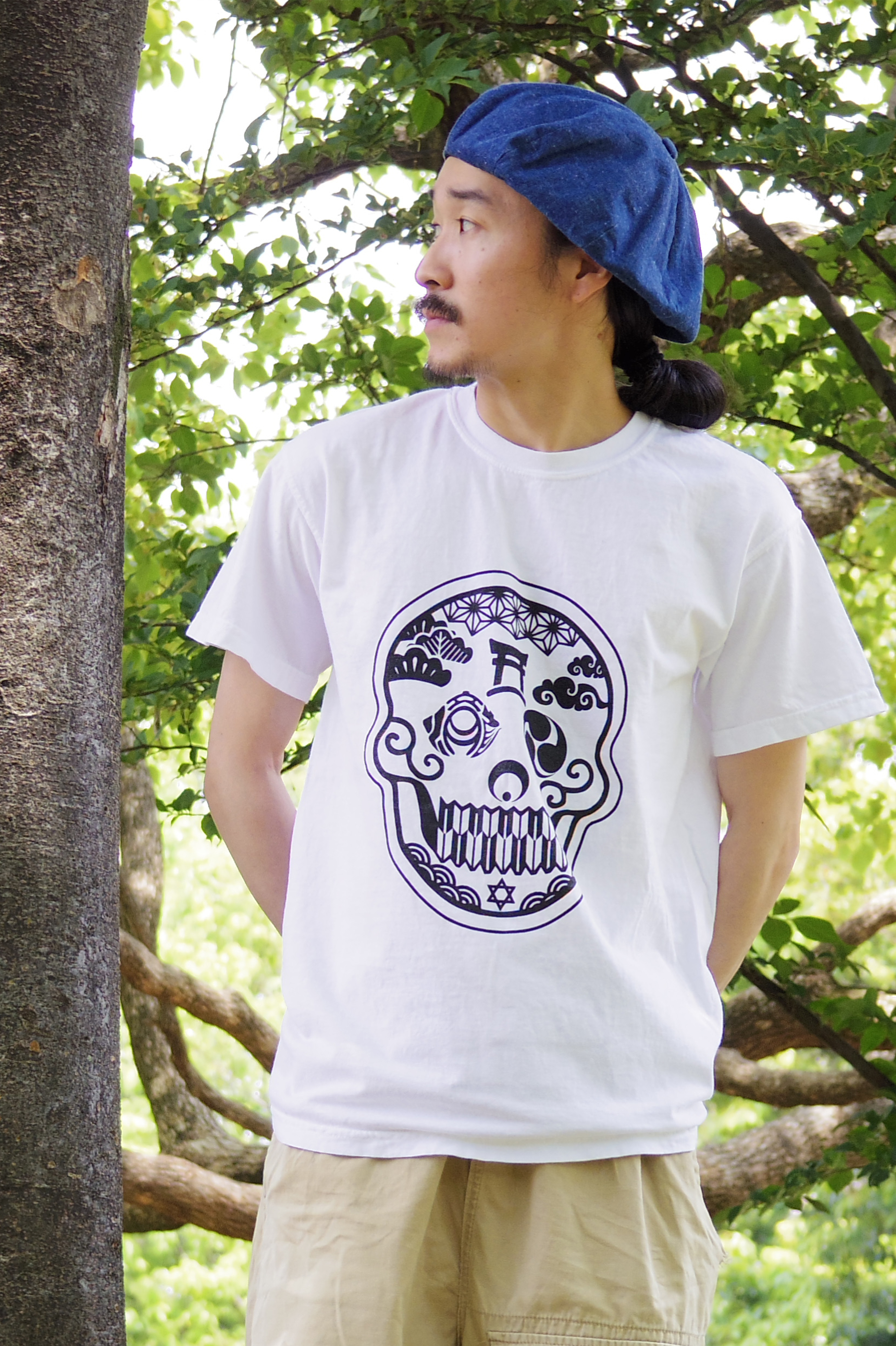 Japanese Skull -日本髑髏- Pigment dye T-shirts White  ~S,M,L size~