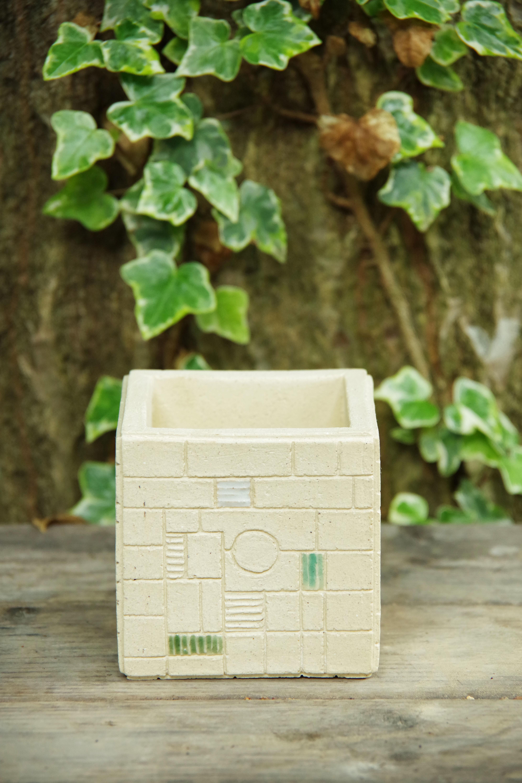 cube pot(staind glass series)④【佐野 有子】